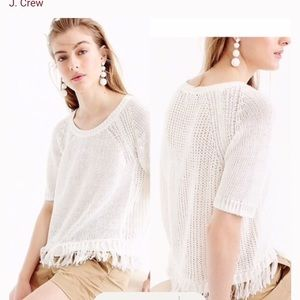 J Crew white knitted French short sleeve sweater